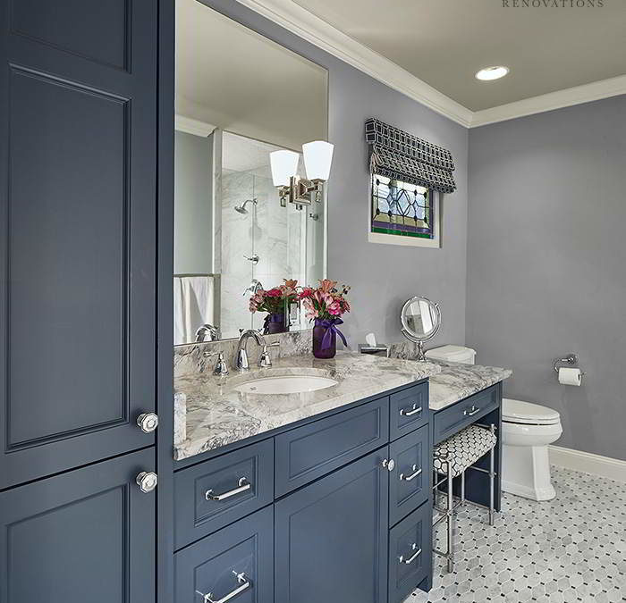 Bathroom Remodel | Blue Cabinets, Marble tile mosaic, Vanity, Beveled Mirror | Blackline Renovations | Dallas Texas