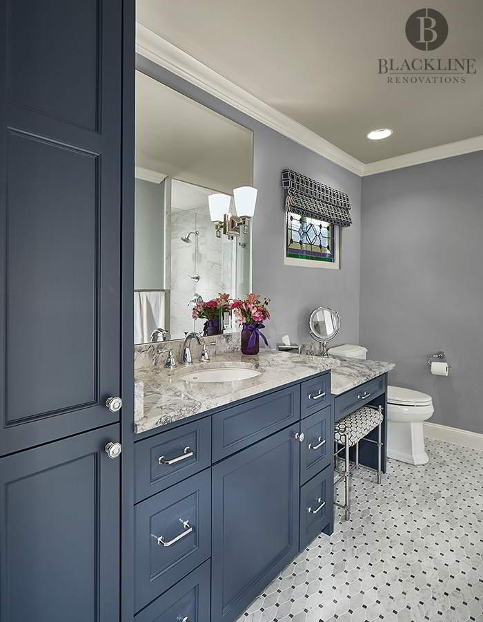 bathroom remodel blue cabinets marble tile mosaic vanity beveled mirror blackline