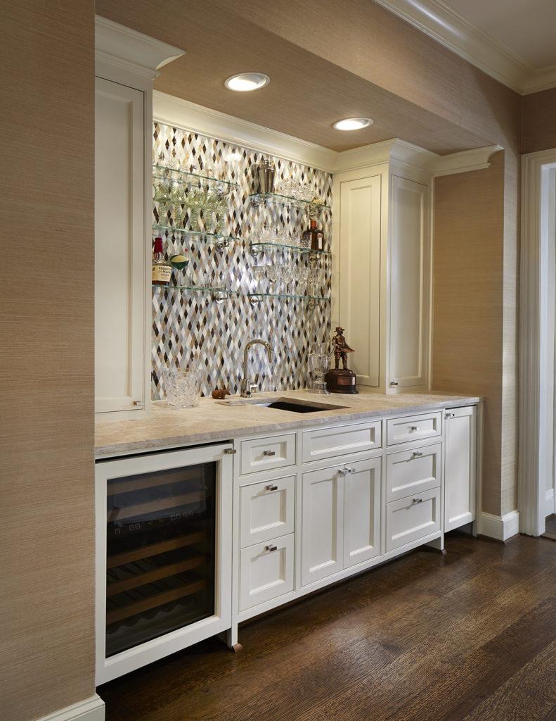 Wet Bar with Custom Mosaic Tile Backsplash in Preston Hollow Dallas
