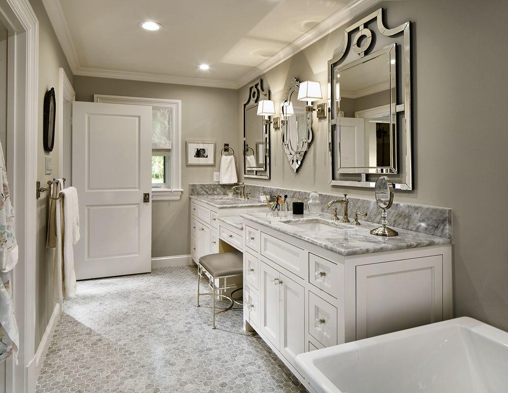 Neutral Master Bathroom with Carrara Marble Tile & Counter in Preston Hollow Dallas