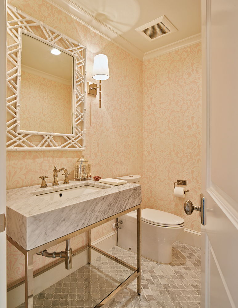 Pink and White Bathroom with Carrara Marble and Metal Vanity in Preston Hollow Dallas