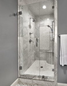 Gray Bathroom with Marble Shower Stall and Glass Door Dallas