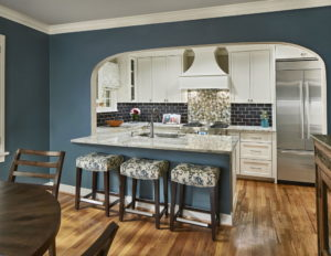Blue Kitchen with Marble Counter Dallas