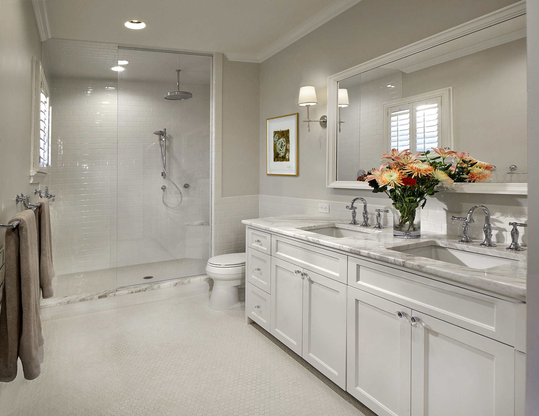 Neutral full bath with rain shower head