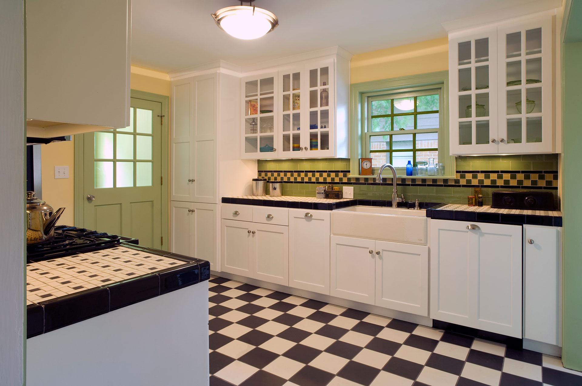 Black White Green Kitchen with Custom Ceramic Tile in Lakewood Hills Dallas