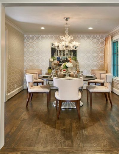 Wooden Floor Dining Room with Seating Arrangement for Six