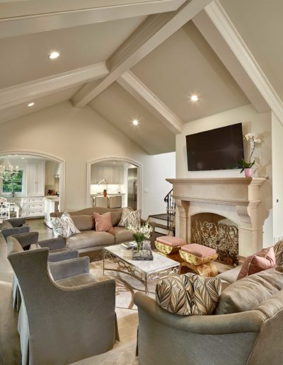 Tan Pink Gray Luxury Formal Living Room