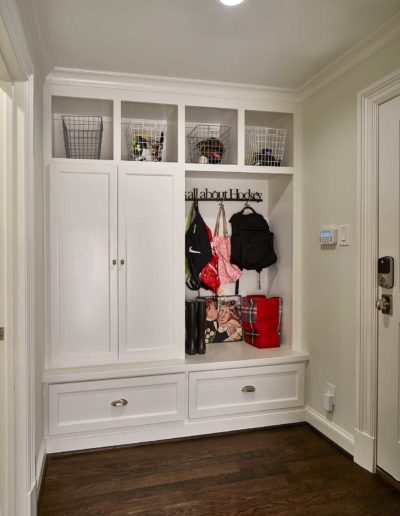 White Luxury Wooden Floor Mudroom