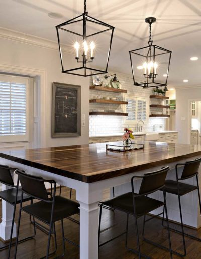 White Rustic Wooden Floor Kitchen with Custom Island
