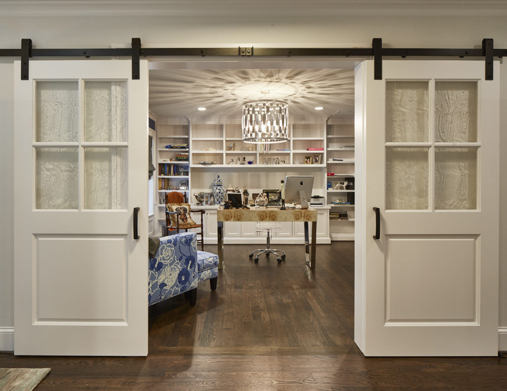 White Wood Barn Doors Luxury Office Study in Preston Hollow Dallas
