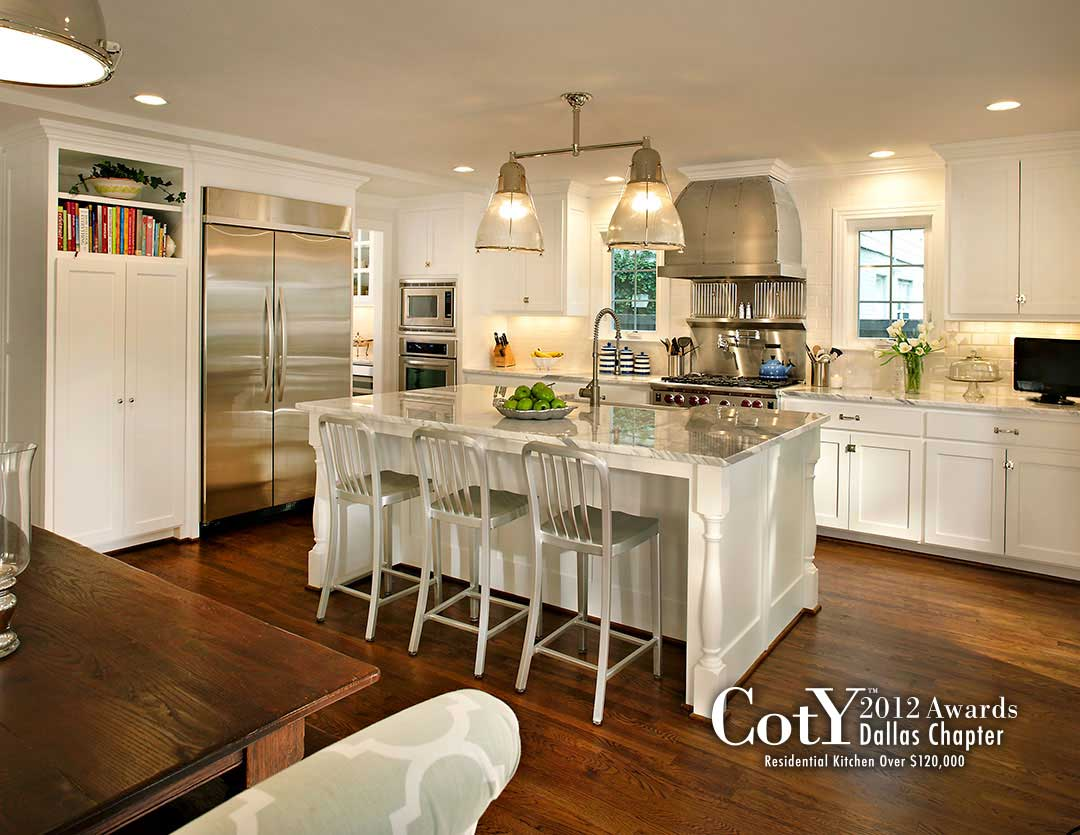 Wooden Floor Gray and White Kitchen with Subway Tile