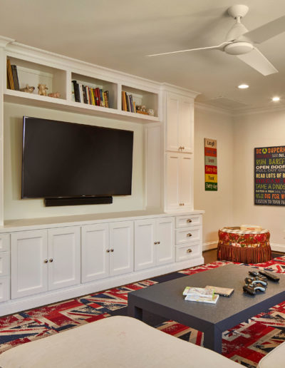 Tv Lounge with White Divider and Union Jack Themed Carpet
