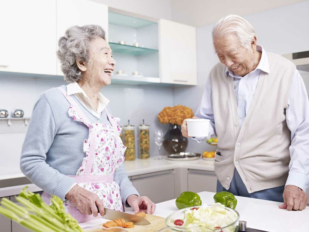 Senior Couple with Remodeled Kitchen